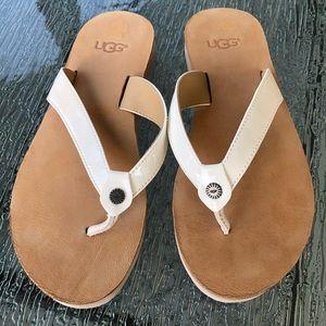 Ugg White Flip Flops Size 5